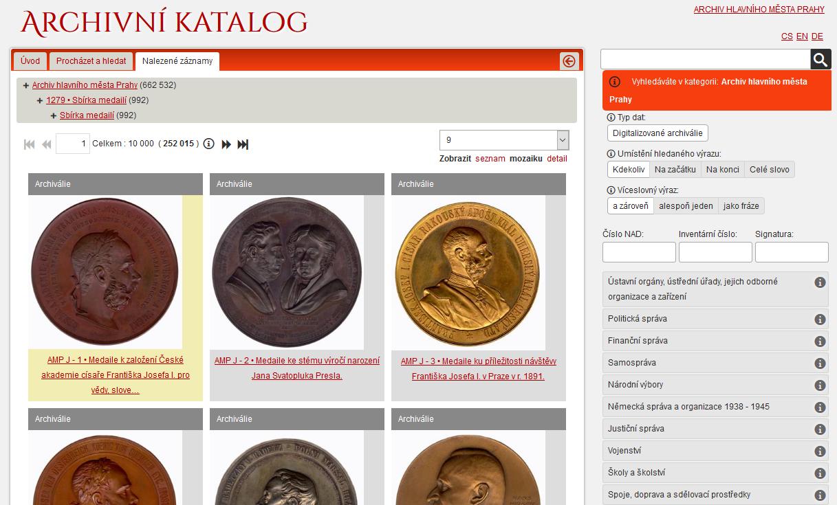 Archivní katalog – Archiv Hlavního města Prahy