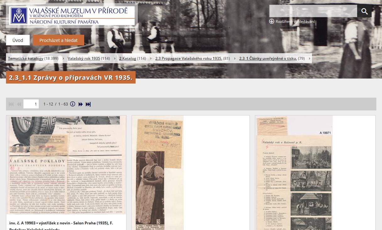 Tematické katalogy sbírkových fondů Valašského muzea v přírodě